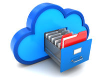 Cloud archive. 3d illustration of cloud storage with one document selected Stock Photos
