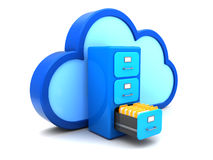 Cloud archive. 3d illuystration of cloud documents storage Royalty Free Stock Photo