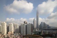 Cloud around top of Shenzhen Pingan Financial center. Top of Shenzhen Pingan Financial center in cloud, China Asia royalty free stock photos