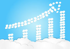 Cloud arrange in arrow shape, increase concept, business background Royalty Free Stock Photos