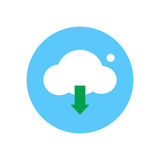 Cloud and arrow down flat icon. Round colorful button, Cloud download circular vector sign, logo illustration. Stock Images