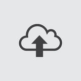 Cloud with arrow icon in a flat design in black color. Vector illustration eps10 Royalty Free Stock Photos
