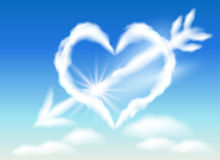Cloud arrow stabs heart Royalty Free Stock Photography