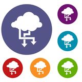 Cloud and arrows icons set. In flat circle reb, blue and green color for web Stock Photo