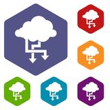 Cloud and arrows icons set. Rhombus in different colors isolated on white background Stock Photography