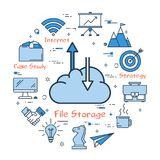 Cloud with arrows on upload and download. Vector illustration of business concept of file storage. Cloud with arrows on upload and download on white background vector illustration
