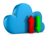 Cloud and arrows on white background. 3D image Royalty Free Stock Photo