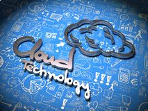 Cloud Background with Handwritten Characters. vector illustration