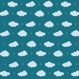 Cloud Background. Pattern clouds and star on dark blue background with cloud computing concept Stock Image
