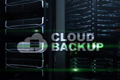 Cloud backup. Server data loss prevention. Cyber security.  stock illustration