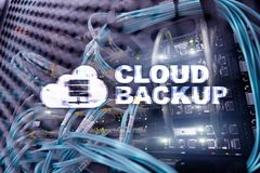 Cloud backup. Server data loss prevention. Cyber security. royalty free stock photography
