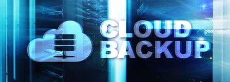 Cloud backup. Server data loss prevention. Cyber security. royalty free stock photo
