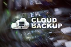 Cloud backup. Server data loss prevention. Cyber security. royalty free stock image