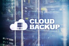 Cloud backup. Server data loss prevention. Cyber security. stock photo