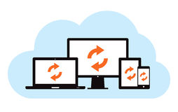 Cloud Backup Sync. This image is a vector file representing a cloud backup sync concept royalty free illustration