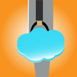 Cloud bag in hand Royalty Free Stock Photos