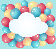 Cloud with balloons Stock Photo