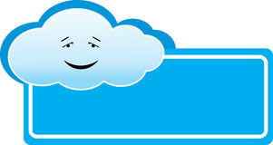 Cloud banner. Vector illustration of blue cloud banner or logo Stock Photos