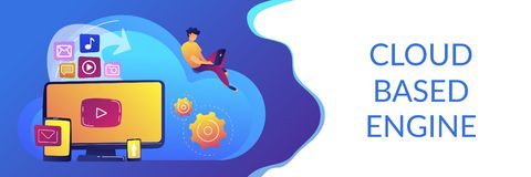 Cloud based engine concept banner header. Digital devices and businessman with laptop on cloud using IaaS. Cloud based engine, infrastructure as a service vector illustration
