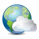 Cloud based sharing global concept icon. Vector illustration of cool cloud based sharing global concept icon stock illustration