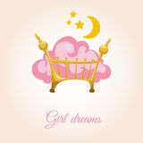 Cloud on the bed for girls. Pink cloud in baby cot. Congratulations for girls Royalty Free Stock Photos
