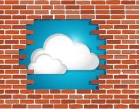 Cloud behind a brick wall illustration design Stock Photos