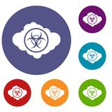 Cloud with biohazard symbol icons set Royalty Free Stock Photography