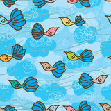 Cloud bird blue seamless pattern Royalty Free Stock Photography