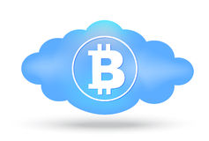 Cloud Bitcoin presentation on white Royalty Free Stock Photo
