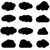 Cloud black icon set. Safe, secure and scalable data protection. Cloud storage and sharing over the Internet. Vector illustration isolated on white background Royalty Free Stock Photos