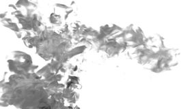Cloud of Black Ink on white backgound underwater or smoke with alpha mask. Use for transitions, background, overlay and stock video