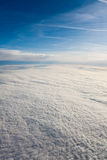 Cloud Blanket Viewed from an Airplane. Cloud blanket in shadow, viewed from an airplane Royalty Free Stock Image