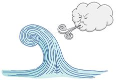 Cloud Blowing Windy Tidal Wave Cartoon vector illustration