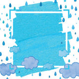 Cloud blue drop frame. Illustration abstract painting water drop make cloud frame blue background white color backdrop template graphic element Royalty Free Stock Photo