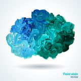 Cloud of blue and green oil paints isolated on Royalty Free Stock Photography