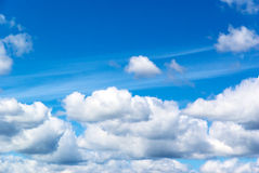 Cloud blue sky. Cloud on blue sky on summer sky, white fluffy clouds, background Royalty Free Stock Photo