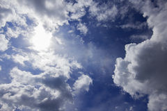 Cloud and blue sky. Blue sky with clouds and sun Stock Photography