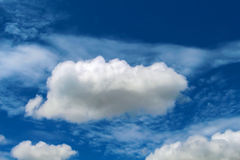Cloud in the blue sky. Relaxing image for banner or card template. Royalty Free Stock Photo