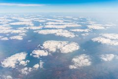 Cloud and blue sky view from airplane Stock Photography