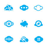 Cloud blue technology of future science application design logo icons Royalty Free Stock Photos