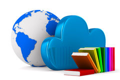 Cloud and book on white background. 3D image Royalty Free Stock Photos