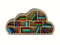 Cloud with books on white background. Isolated 3D illustration.  Stock Photography