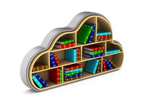 Cloud with books on white background. Isolated 3D illustration.  Royalty Free Stock Photos