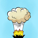 Cloud after the Boom. Comic book explosion on halftone pixel blue background Royalty Free Stock Image
