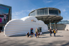 Cloud booth of Amazon Web Services company at CeBIT Royalty Free Stock Images