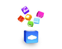 Cloud box illuminated colorful app icons floating isolated on wh Stock Photos
