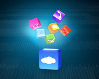 Cloud box illuminated colorful app icons floating on tech backgr Stock Photos