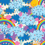 Cloud bring rainbow naive seamless pattern Royalty Free Stock Images