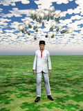 Cloud of bulbs hover over mans head Royalty Free Stock Images