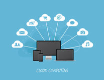 Cloud business icons with modern computers Stock Photography